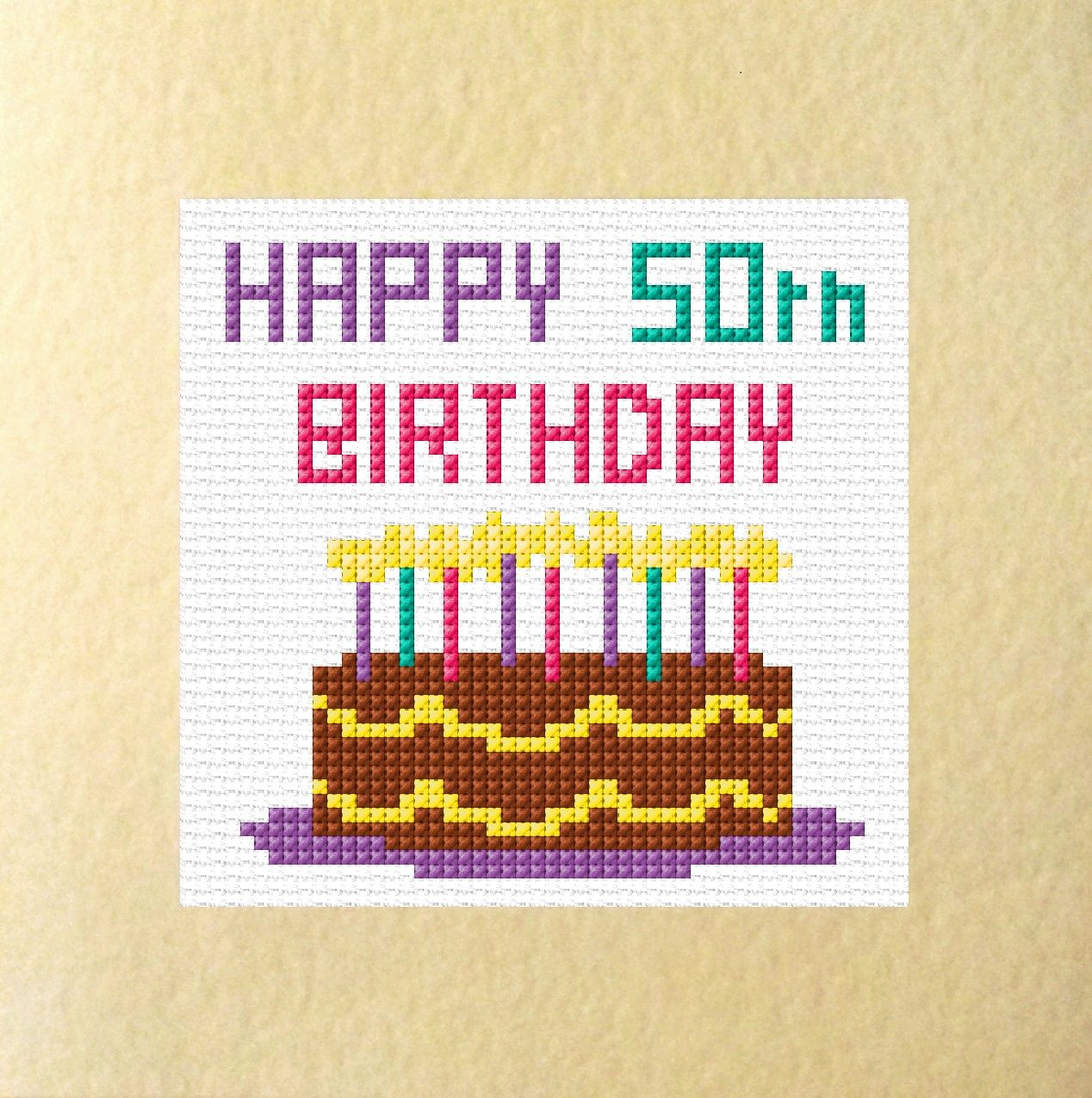 Cake Candles Happy 50 60 70 80th Birthday Card